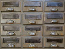 Old library drawer closeup - vintage cabinet royalty free stock photo