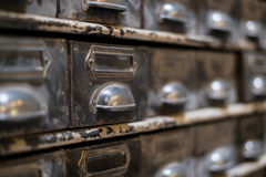 Old library drawer closeup - vintage furniture macro Royalty Free Stock Image