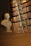 Old library with historic books and Locke sculpture royalty free stock photography
