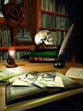 Old library mistery. Old library enlightened by a candle. Glasses and a knife stained with blood, on an envelope and an old book vector illustration