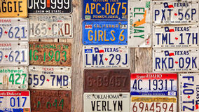 Old License Plates on Display in Luckenbach, Texas Stock Images
