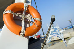 Old life buoy on the boat Royalty Free Stock Images