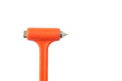 Old life hammer. Old orange life hammer, steel hammer to break car glass window for safety emergency,  on white background Stock Photos