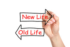 Old Life or New Life. Hand sketching Old Life or New Life concept on transparent wipe board Stock Image