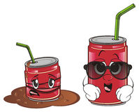 Old life and new life of soda cans. Old crumple red soda can in puddle look at new soda can in sunglasses Royalty Free Stock Image