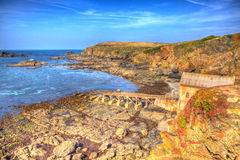 Old lifeboat station house Lizard Point Cornwall UK South West England in unique HDR like painting Royalty Free Stock Images