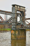 Old lift bridge in Magdeburg Stock Photo