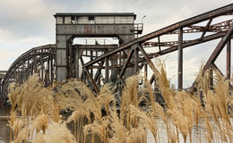 Old lift bridge in Magdeburg Stock Images