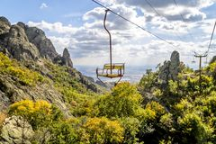 The old lift. Landscapes  Mountains  Hills outdoor lift Stock Images