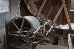 Old lifting gear. In medieval church Royalty Free Stock Photography