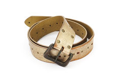 Old light brown ladies leather belt Royalty Free Stock Image