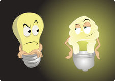 Old light bulb vs energy saving Stock Photo