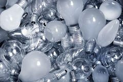 Old Light Bulbs in garbage can Stock Photography