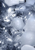 Old Light Bulbs in garbage can Stock Photo