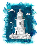 Old light house on blue background Stock Photo