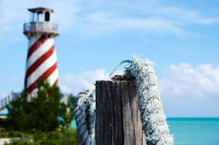 Old light house over-looking ocean Stock Image