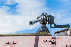 Old light machine gun. Light machine gun on the old tank Royalty Free Stock Image