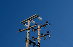 Old Light Pole. With beautiful blue sky in background Stock Photography
