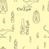 Old light sources seamless pattern on beige yellow background. Vector illustration. Royalty Free Stock Photography