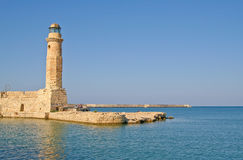 Old lighthouse. In Rethymno in the island of Crete Stock Images