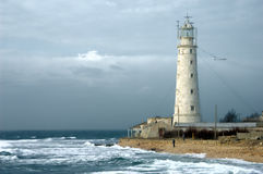 Old lighthouse. On the sea coast Stock Photography