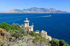Old lighthouse. On Poros, Greece Stock Photo