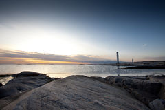 The old lighthouse. An old lighthouse on the swedeish coastline. The small island is named Fot royalty free stock photography