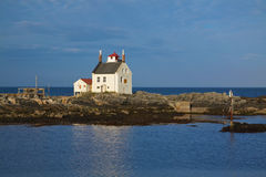 Old lighthouse. Building in Sorland on Lofoten islands in Norway Royalty Free Stock Photography