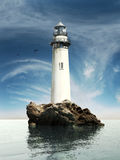 Old lighthouse. Day view of a old lighthouse on a rock island Stock Photos