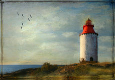 Old lighthouse. Birds flying. Royalty Free Stock Images