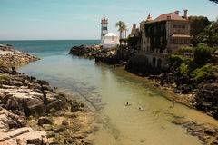 Old lighthouse in Cascais Stock Image