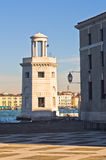 Old lighthouse in front of San Giorgio Maggiore church in Venice Royalty Free Stock Photos
