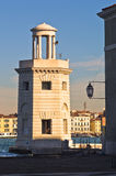 Old lighthouse in front of San Giorgio Maggiore church in Venice Stock Images