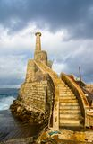 Old lighthouse in Malta. Old lighthouse at Marfa Point, next to the ferry terminal - Cirkewwa, Malta Stock Photos