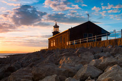 Old lighthouse on the pier in Moracambe Royalty Free Stock Image