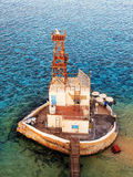 Old lighthouse in the red sea. View from above Stock Photo