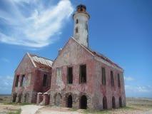Old lighthouse. Ruins on a deserted Caribbean island. Little Curacao, Klein Curacao, Netherlands Antilles, Curacao stock photo
