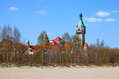 Old lighthouse. Seen from the beach in Sopot, Poland Stock Image