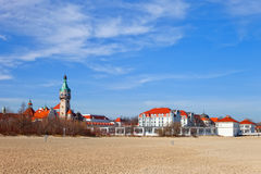 Old lighthouse. Seen from the beach in Sopot, Poland Stock Photo