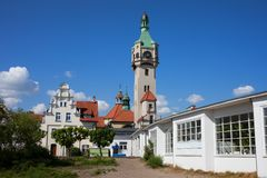 Sopot Lighthouse in Poland. Old Lighthouse 1904 in Sopot town in Poland stock photo