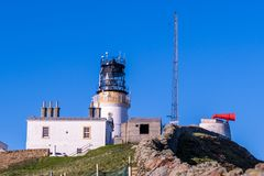 The old lighthouse at Sumburgh Head, on the southern tip of Shet stock image