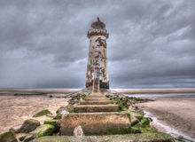 Old Lighthouse Talacre. Talacre Old Lighthouse at the point of ayr on a really moody overcast day Stock Photos