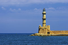Old lighthouse and view on city of Chania Royalty Free Stock Photos