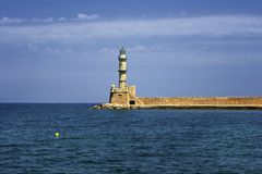 Old lighthouse and view on city of Rethymno Royalty Free Stock Images