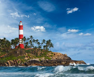 Lighthouse and sea. Kerala, India Royalty Free Stock Photos