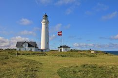 Old lighthouse at the west coast of Denmark. Hirtshals. Stock Photos