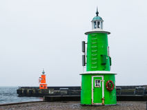 Old lighthouses, Denmark. Two lighthouses in a rainy day, Helsingor, Denmark royalty free stock photography