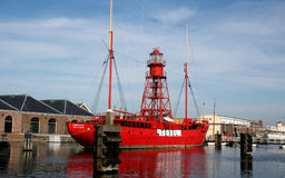 Old lightship in the harbor Royalty Free Stock Image