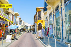 Old Limassol. LIMASSOL, CYPRUS - AUGUST 4, 2014: The shopping street with the wide range of different goods, on August 4 in Limassol Royalty Free Stock Photos