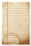 Old lined paper. Isolated on a white Stock Photos